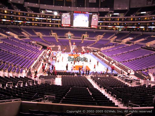 Seat view from section 217 at the Staples Center, home of the Los Angeles Lakers