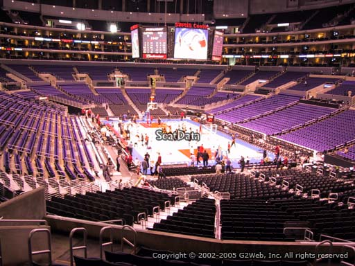 Seat view from section 218 at the Staples Center, home of the Los Angeles Lakers