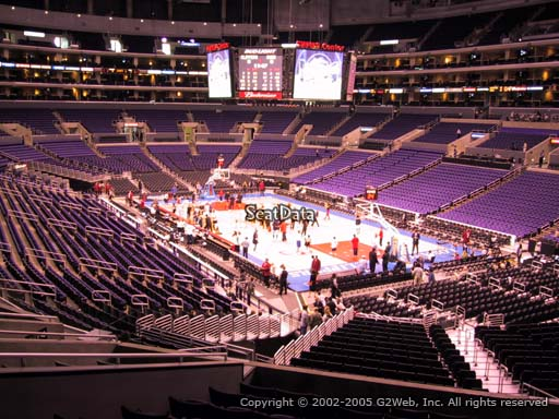 Seat view from section 219 at the Staples Center, home of the Los Angeles Lakers