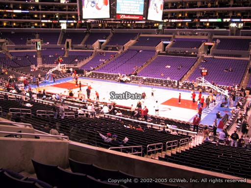 Seat view from premier section 3 at the Staples Center, home of the Los Angeles Clippers