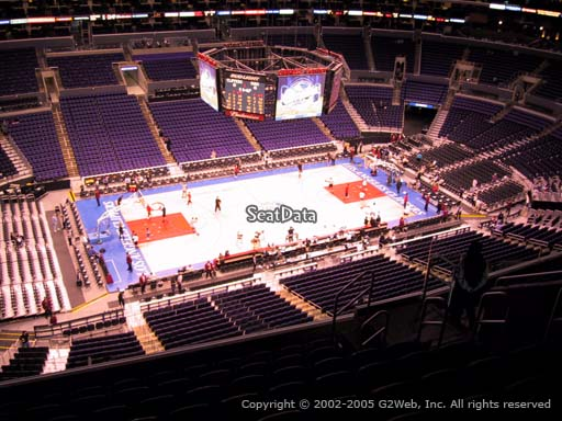 Seat view from section 303 at the Staples Center, home of the Los Angeles Clippers