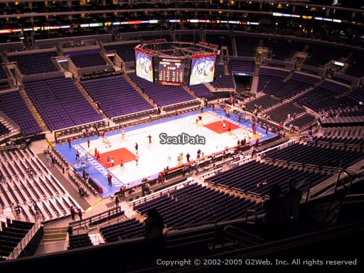 Seat view from section 304 at the Staples Center, home of the Los Angeles Clippers