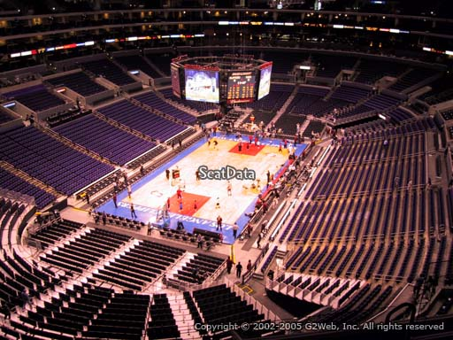Seat view from section 307 at the Staples Center, home of the Los Angeles Clippers