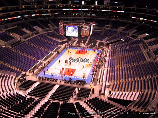 Seat view from section 308 at the Staples Center, home of the Los Angeles Clippers