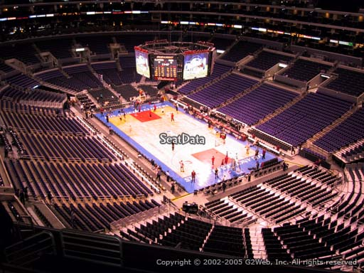 Seat view from section 313 at the Staples Center, home of the Los Angeles Clippers