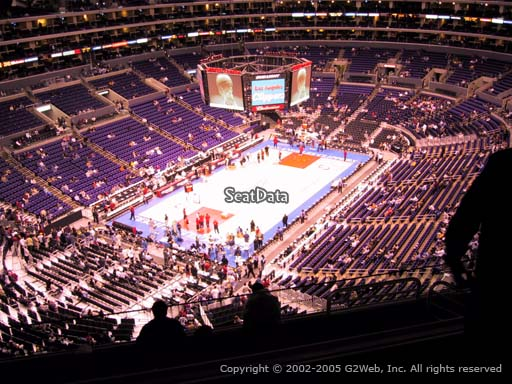Seat view from section 323 at the Staples Center, home of the Los Angeles Clippers