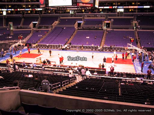 Seat view from premier section 4 at the Staples Center, home of the Los Angeles Clippers