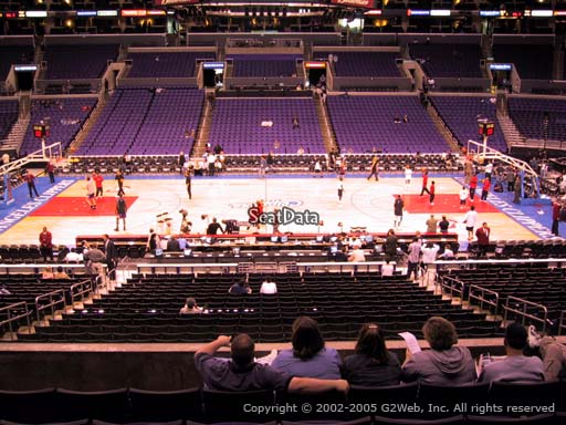 Seat view from premier section 5 at the Staples Center, home of the Los Angeles Clippers