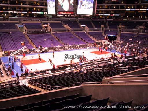 Seat view from premier section 7 at the Staples Center, home of the Los Angeles Clippers