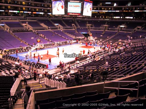 Seat view from premier section 9 at the Staples Center, home of the Los Angeles Clippers