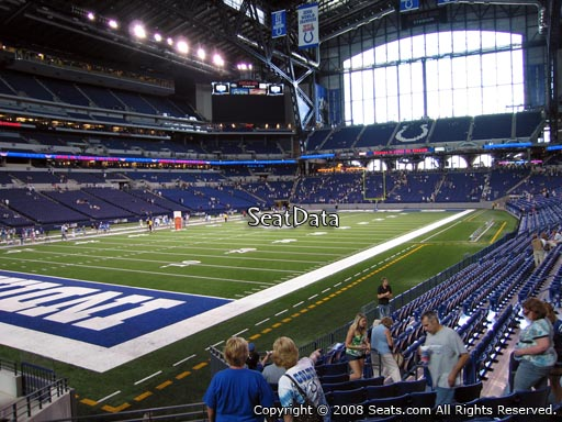 Seat view from section 121 at Lucas Oil Stadium, home of the Indianapolis Colts