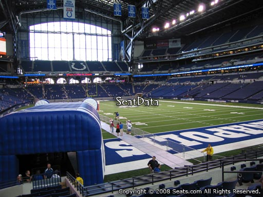 Seat view from section 129 at Lucas Oil Stadium, home of the Indianapolis Colts