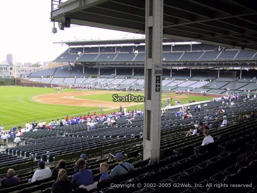Seat view from section 206 at Wrigley Field, home of the Chicago Cubs
