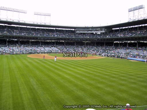 Seat view from bleacher section 305 at Wrigley Field, home of the Chicago Cubs