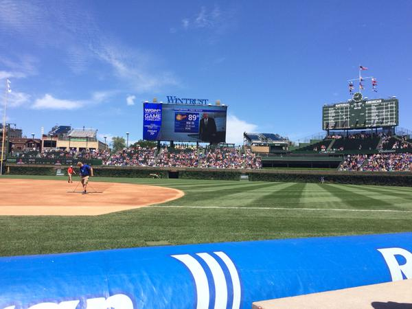 View from the Bullpen Box Seats at Wrigley Field