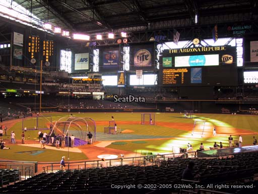 Seat view from section 119 at Chase Field, home of the Arizona Diamondbacks