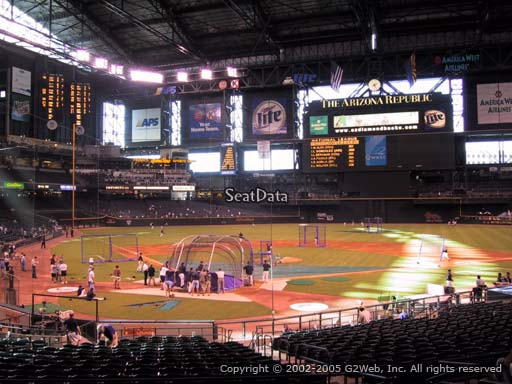 Seat view from section 120 at Chase Field, home of the Arizona Diamondbacks