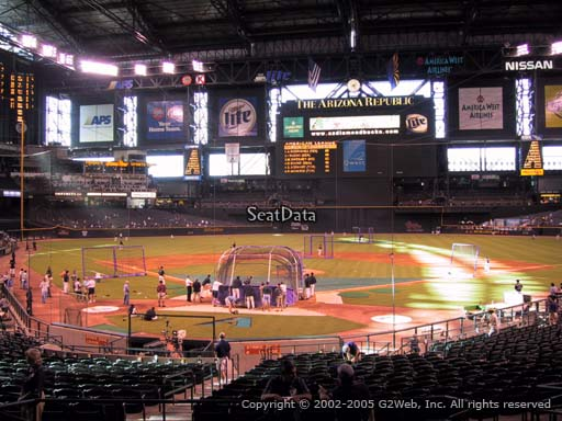 Seat view from section 121 at Chase Field, home of the Arizona Diamondbacks