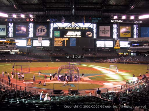 Seat view from section 122 at Chase Field, home of the Arizona Diamondbacks