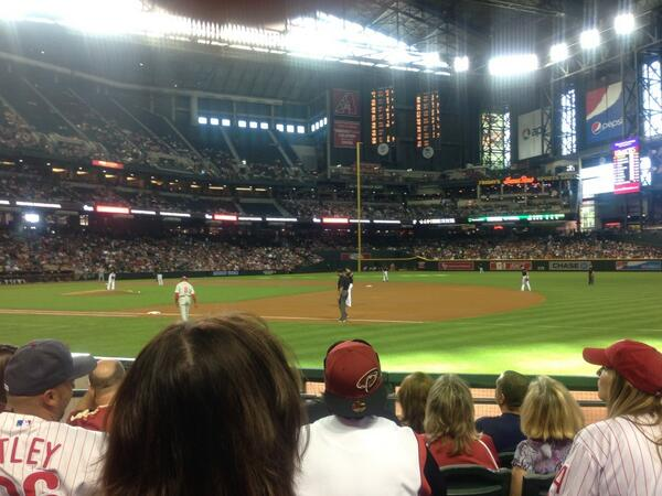 Seat view from section B at Chase Field, home of the Arizona Diamondbacks