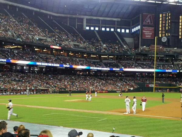 Seat view from section D at Chase Field, home of the Arizona Diamondbacks