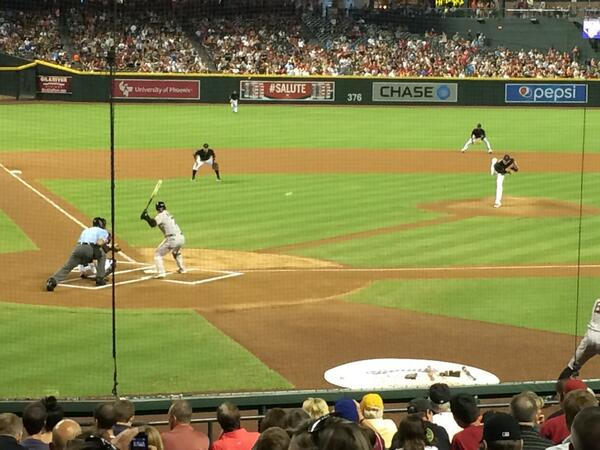 Seat view from section H at Chase Field, home of the Arizona Diamondbacks