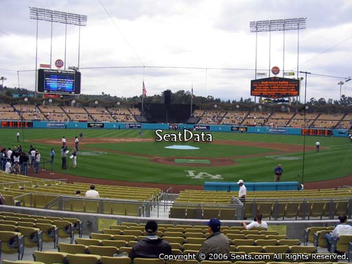 Seat view from field box section 1 at Dodger Stadium, home of the Los Angeles Dodgers
