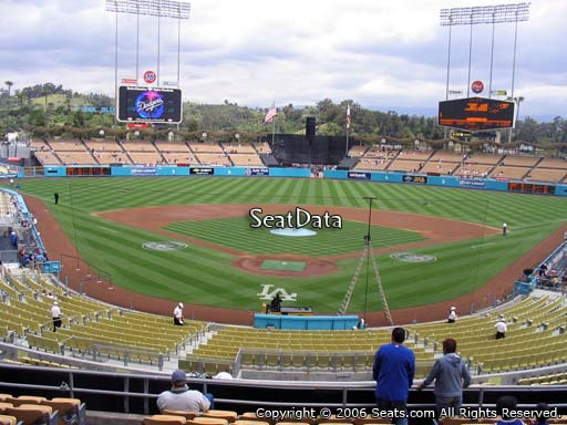Seat view from loge box section 102 at Dodger Stadium, home of the Los Angeles Dodgers