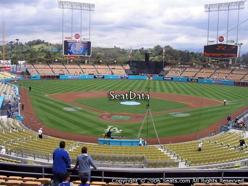 Seat view from loge box section 104 at Dodger Stadium, home of the Los Angeles Dodgers