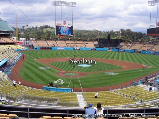 Seat view from loge box section 108 at Dodger Stadium, home of the Los Angeles Dodgers