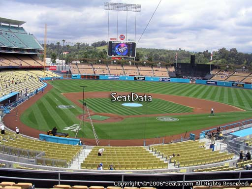 Seat view from loge box section 112 at Dodger Stadium, home of the Los Angeles Dodgers
