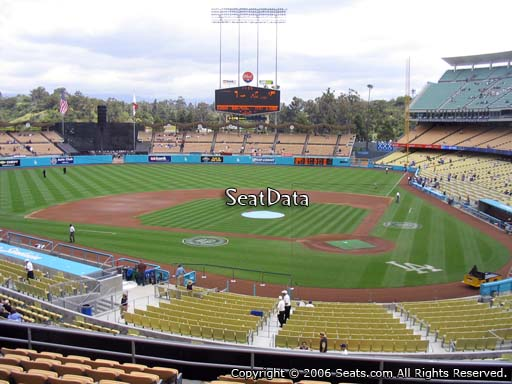 Seat view from loge box section 115 at Dodger Stadium, home of the Los Angeles Dodgers