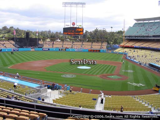 Seat view from loge box section 117 at Dodger Stadium, home of the Los Angeles Dodgers
