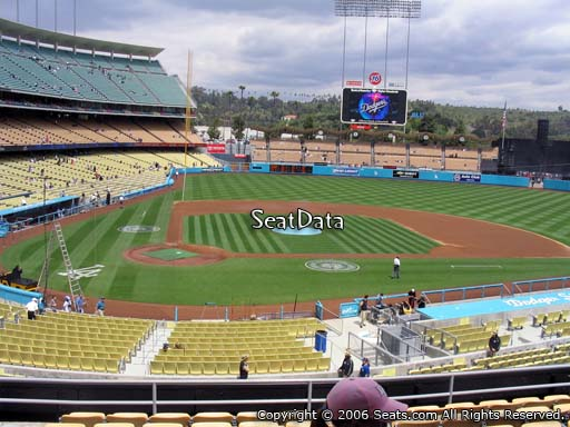Seat view from loge box section 120 at Dodger Stadium, home of the Los Angeles Dodgers