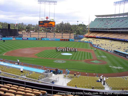 Seat view from loge box section 121 at Dodger Stadium, home of the Los Angeles Dodgers