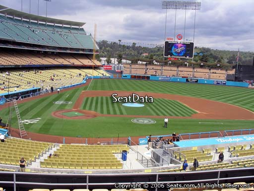 Seat view from loge box section 122 at Dodger Stadium, home of the Los Angeles Dodgers