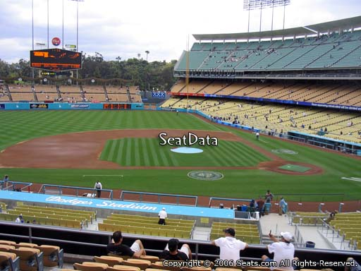 Seat view from loge box section 129 at Dodger Stadium, home of the Los Angeles Dodgers