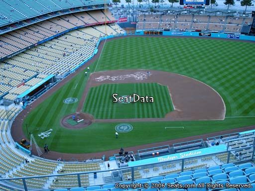 Seat view from top deck section 12 at Dodger Stadium, home of the Los Angeles Dodgers