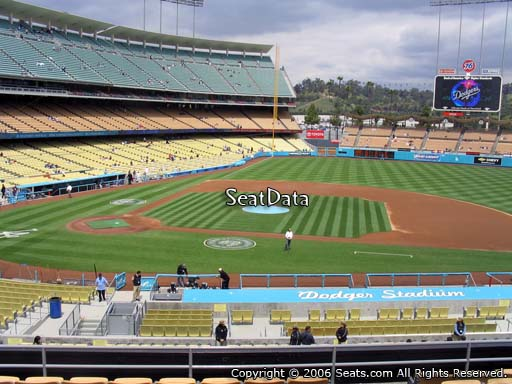 Seat view from loge box section 130 at Dodger Stadium, home of the Los Angeles Dodgers