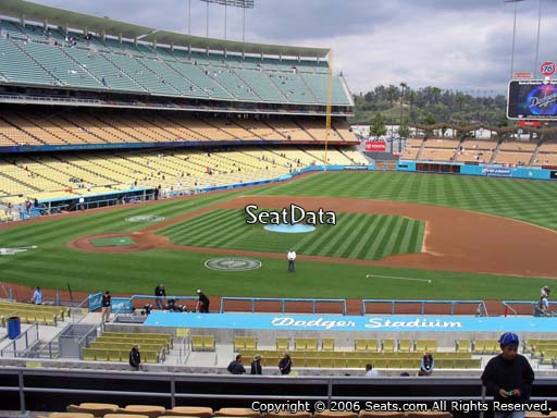 Seat view from loge box section 132 at Dodger Stadium, home of the Los Angeles Dodgers