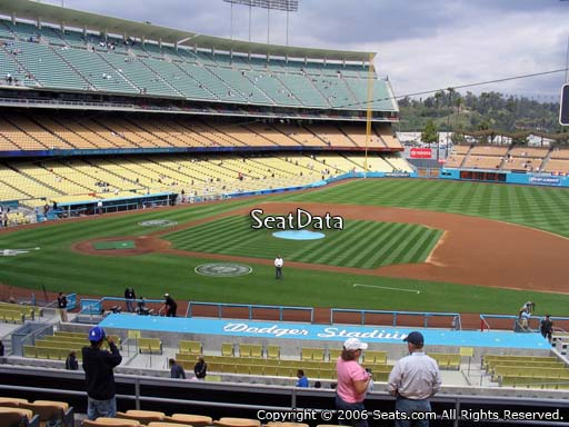Seat view from loge box section 134 at Dodger Stadium, home of the Los Angeles Dodgers