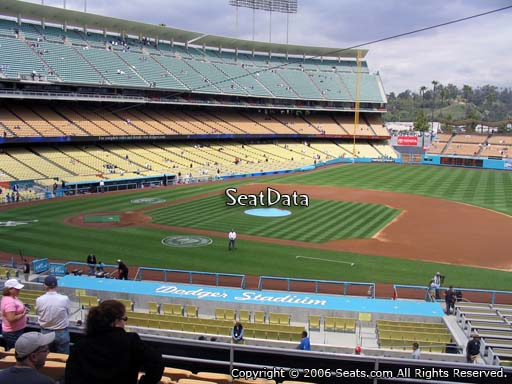 Seat view from loge box section 136 at Dodger Stadium, home of the Los Angeles Dodgers