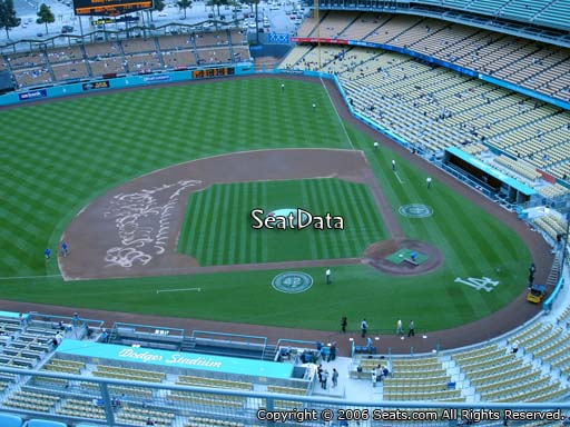 Seat view from top deck section 13 at Dodger Stadium, home of the Los Angeles Dodgers