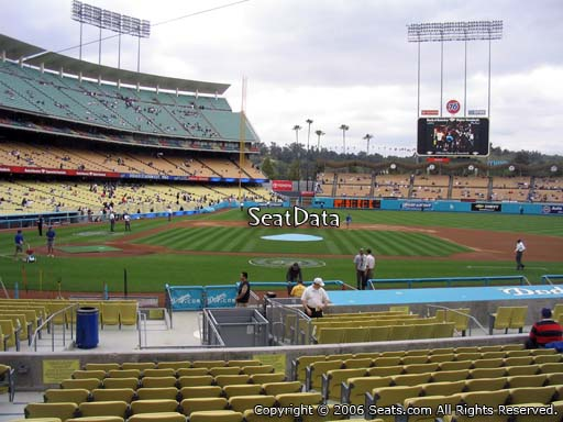 Seat view from field box section 14 at Dodger Stadium, home of the Los Angeles Dodgers