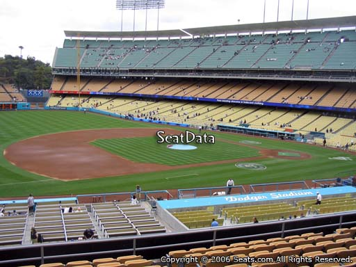 Seat view from loge box section 141 at Dodger Stadium, home of the Los Angeles Dodgers