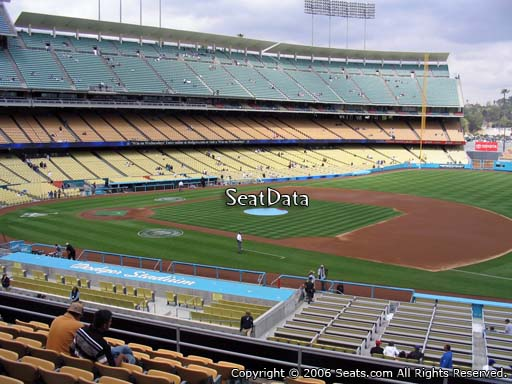 Seat view from loge box section 142 at Dodger Stadium, home of the Los Angeles Dodgers