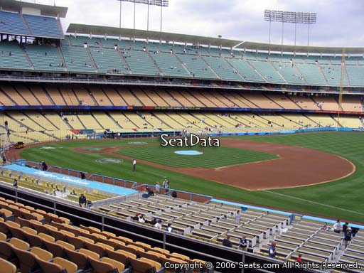 Seat view from loge box section 148 at Dodger Stadium, home of the Los Angeles Dodgers