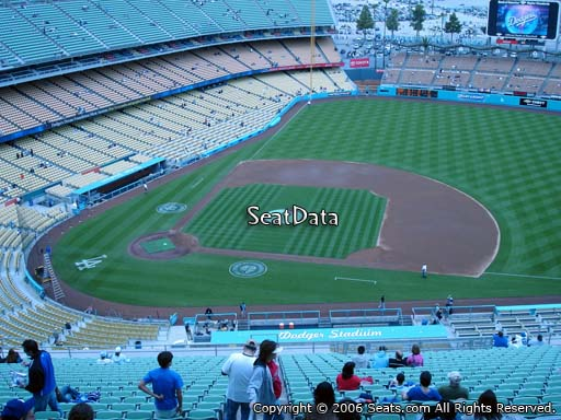 Seat view from reserve section 14 at Dodger Stadium, home of the Los Angeles Dodgers