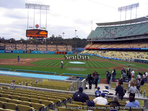 Seat view from field box section 15 at Dodger Stadium, home of the Los Angeles Dodgers