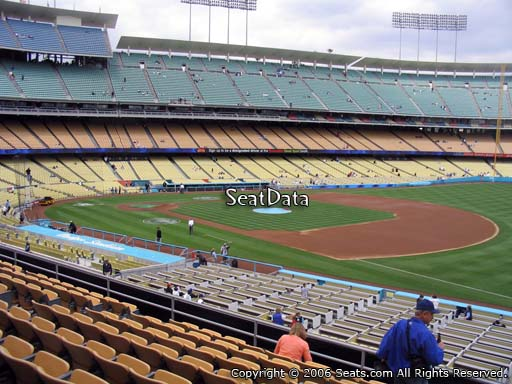 Seat view from loge box section 150 at Dodger Stadium, home of the Los Angeles Dodgers